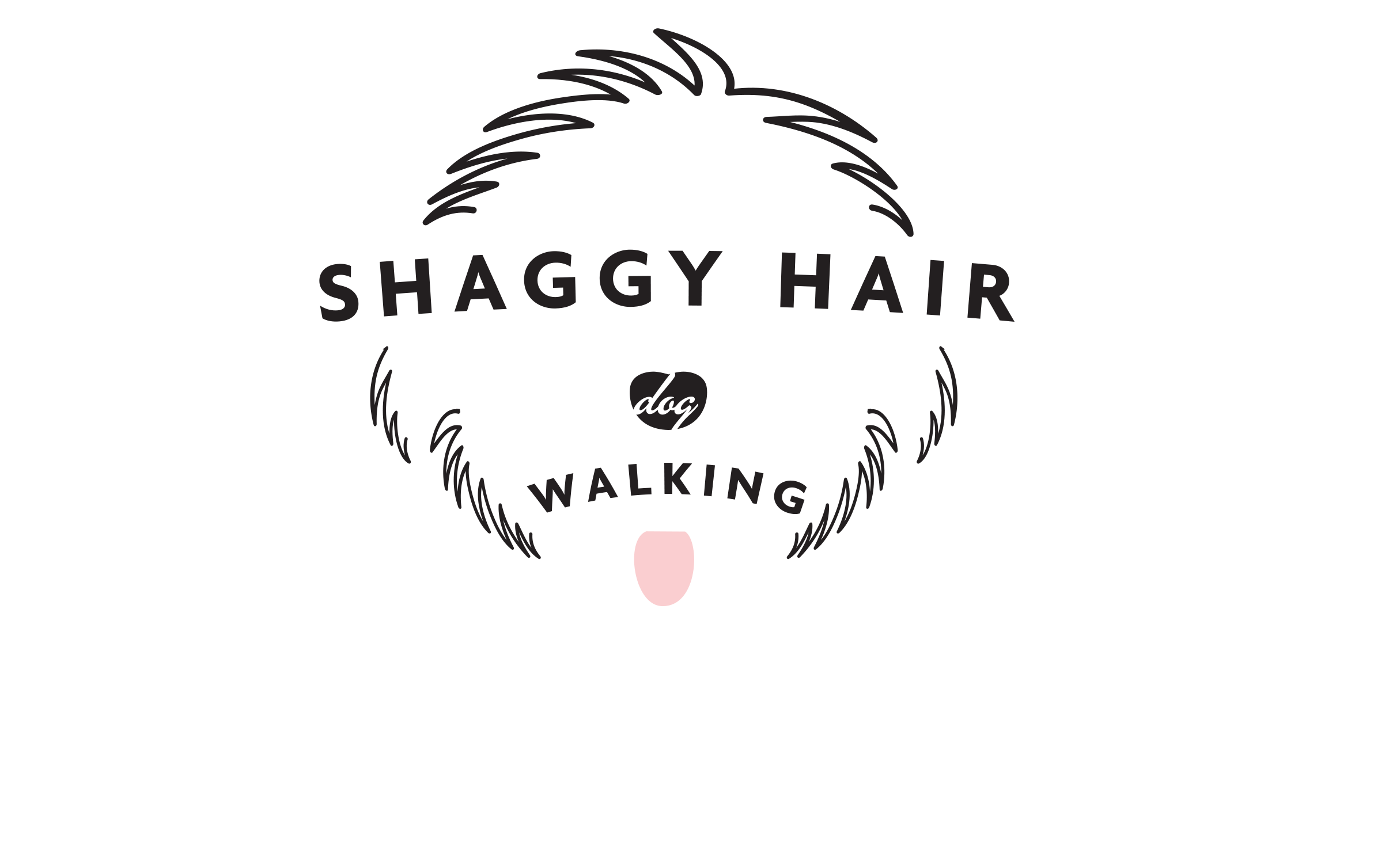 Shaggy Hair Dog Walking Logo 1
