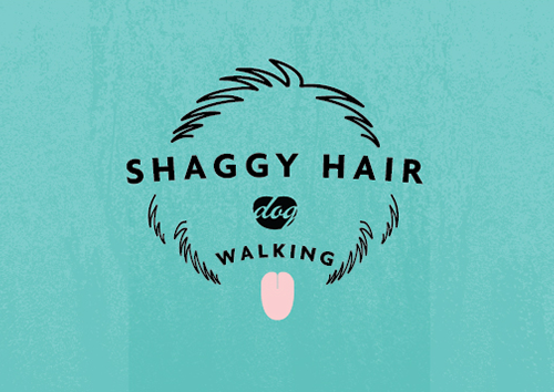 Shaggy Hair Dog Walking Logo
